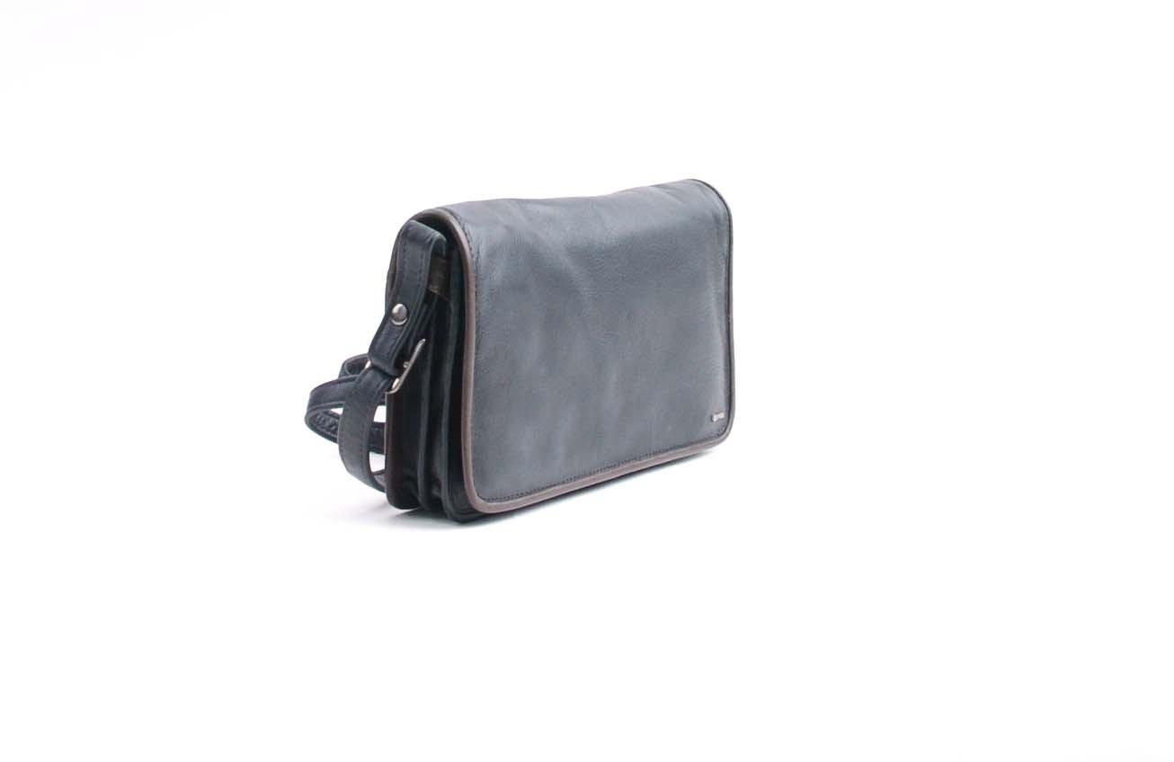 berba Soft 062 - Kleine Umhängetasche in schwarz-taupe Seitenansicht