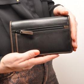 berba Soft 249  Überschlagbörse in schwarz -taupe